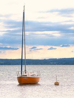 Anchorage, Boat, Lake, Chiemsee, Water, Sailing