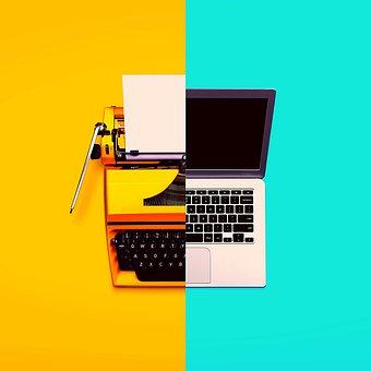 Laptop, Typewriter, Screem, Paper, Keyboard, Keys