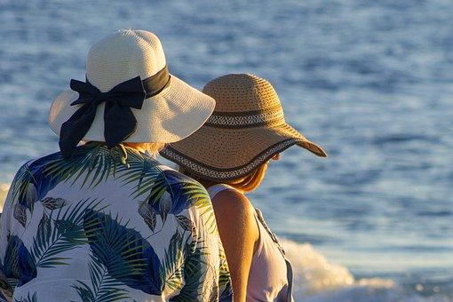 Beach, Women, Hats, Friends, Summer, Sea, Ocean