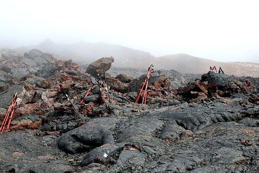 Mountains, Tolbachik Volcano, Cave, Lava, Tourists