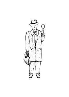 Detective, Inspect, Investigate, Suit, Coay, Hat