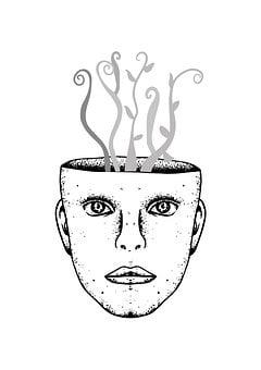 Head, Head-burst, Drawing, Face, Plants, Roots