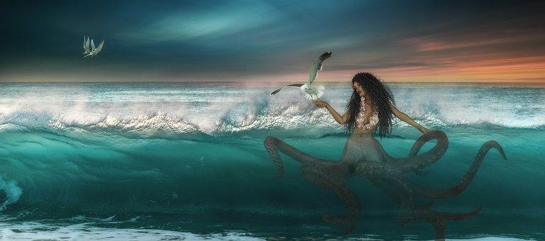 Fantasy, Sea, Octopussi, Sky, Background, Composing
