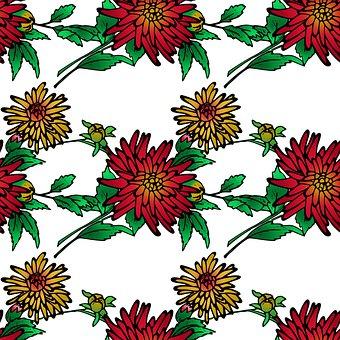 Chrysanthemums, Flowers, Foliage, Pattern, Autumn