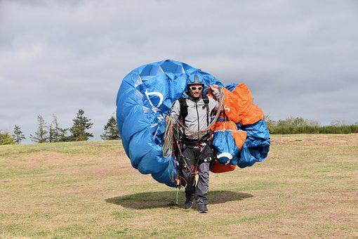 Paraglider, Paragliding, Folded Veil, Sail Folding, Air