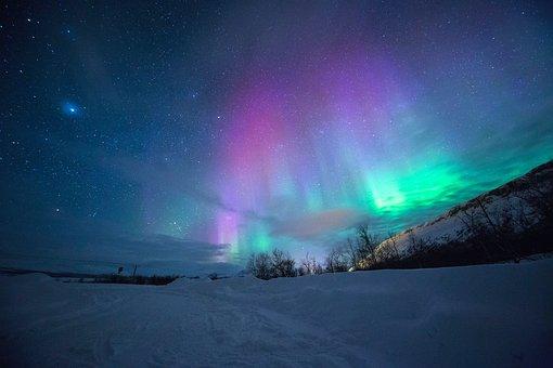Northern Lights, Aurora Borealis, Ice, Winter, Snow