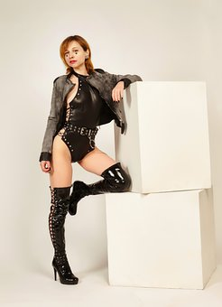 Woman, Model, Outfit, Latex, Boots, Swimsuit, Girl