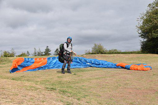 Paraglider, Paragliding, Sail Unfolded On The Ground