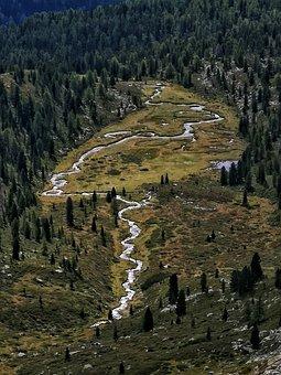 Mountain, Alps, Landscape, Trorente, Water, River, Lake