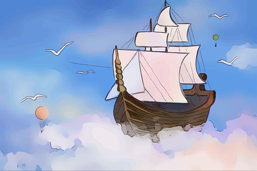 Wallpaper, Hd, Flying, Ship, Antique, Old, Magic