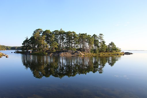 Island, Sea, Trees, Vegetation, Water, Calm, Idyllic