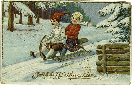 Christmas, Card, Winter, December, Children, Cold