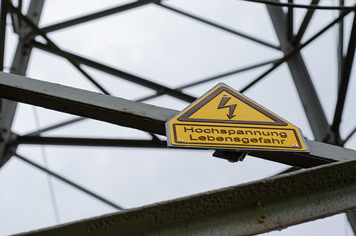 Power Line, Warning Sign, Danger Of Death