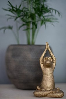 Yoga, Monkey, Figurine, Decoration, Mountain Palm, Gold