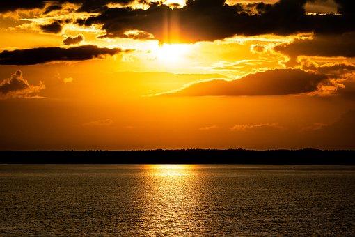 Sunset, Lake, Silhouette, Dusk, Sun, Orange Sky