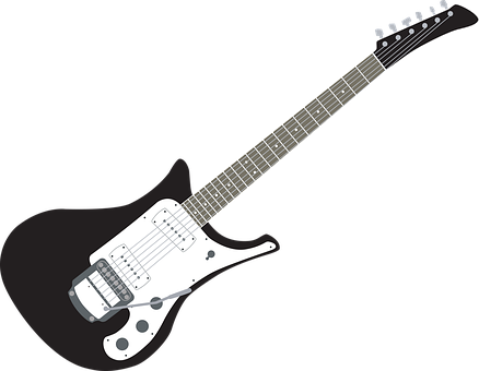 Guitar, Black And White Guitar, Electric Guitar, Music