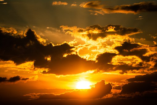 Sunset, Sun, Clouds, Dusk, Sunlight, Cloudscape