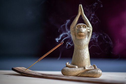 Yoga, Monkey, Incense, Meditation, Decoration, Gold