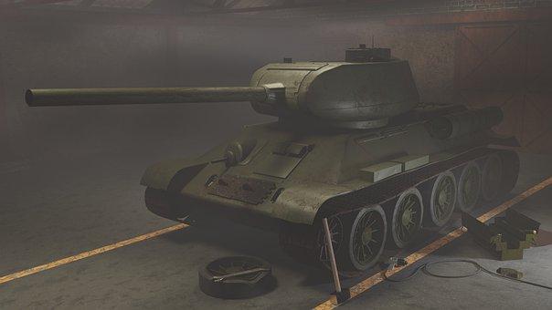Tank, Military, Canon, Char, War, Turret, 3d