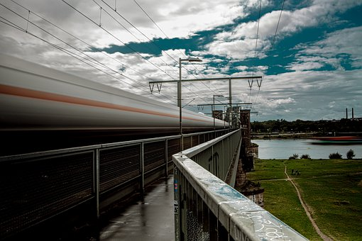 Bridge, Bullet Train, Train, In Transit, Railway