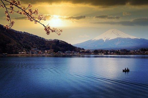 Lake, Mount Fuji, Sunset, Water, Nature, Cherry Blossom