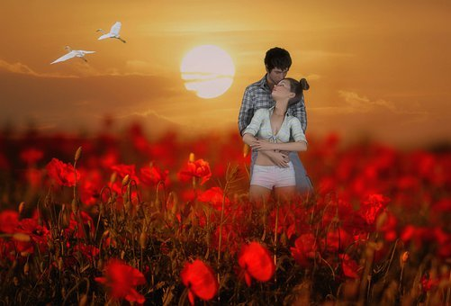 Couple, Fantasy, Poppy Field, 3d Fantasy, 3d Rendering