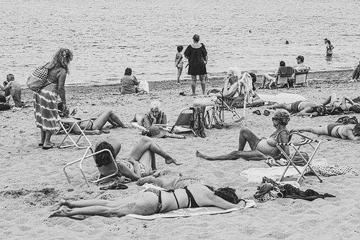 Beach, Sand, Sea, Ocean, People, Crowd, Waves, Summer