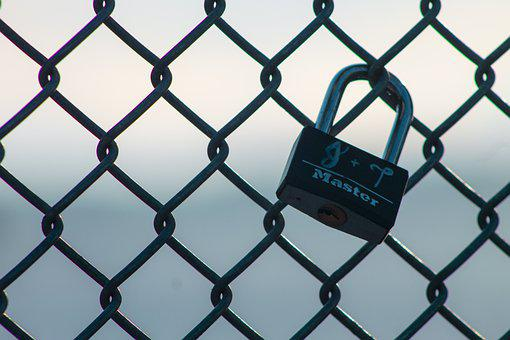 Lock, Padlock, Fence, Chain Link Fence, Black Fence