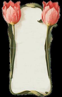 Tulips, Flowers, Frame, Border, Menu, Art Nouveau