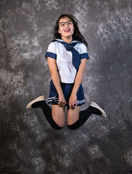 Woman, Girl, Sailor, Costume, Jump, Jumping, Fun