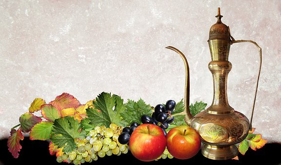 Fruits, Brass Kettle, Still Life, Leaves, Apples
