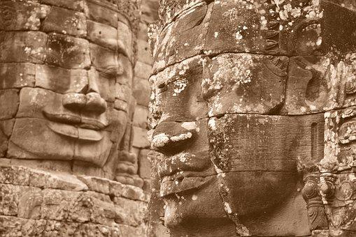 Ruins, Temple, Sculpture, Stone, Khmer, Buddhism, Wat