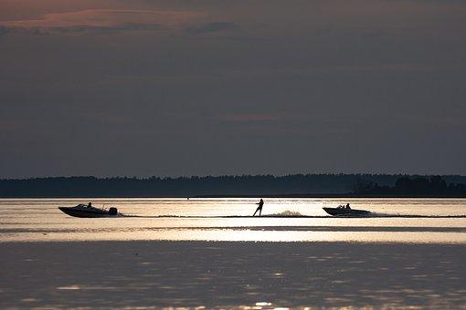 Motorboat, Lake, Water Skiing, Water, Sport