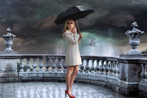 Storm, Woman, Umbrella, Woman Holding An Umbrella