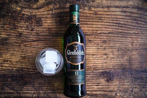 Bottle, Wood, Surface, Whiskey, Ice, Glass, Alcohol
