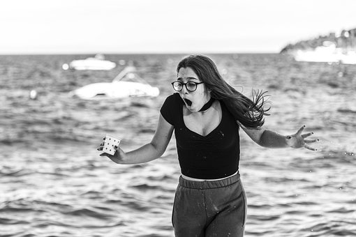 Water, Cup, Sea, Waves, Girl, Young Woman, Surprised