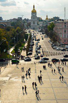 Kyiv, Mykhailivska, Square, Cityscape, View, Old, City