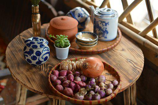 Pottery, Onion, Vegetable, Table, Ingredients, Kitchen