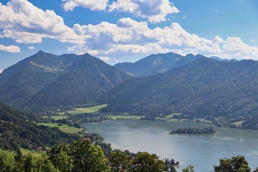 Mountains, Lake, Landscape, Water, Schliersee, Alpine