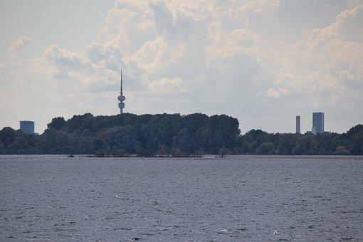 Lake, Reservoir, Water, Trees, Tower, Olympia Tower