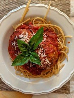 Meal, Dish, Plate, Spaghetti, Pasta, Meatballs