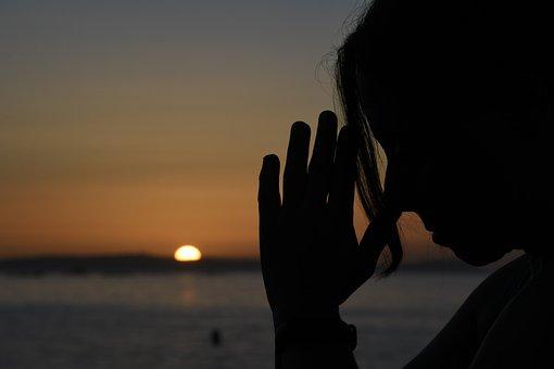 Praying Gesture, Sunset, Silhouette, Pray, Sea, Prayer