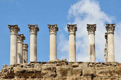 Roman, Column, Wall, Capital, Restored, Marble, Stone