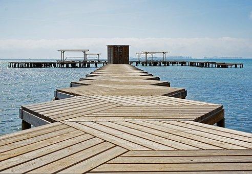 Platform, Wooden, Planked, Wood, Beach, Sea