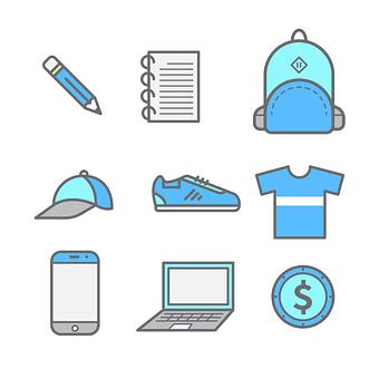 School Items, Education, Icon, Study, Set, Laptop, Cap