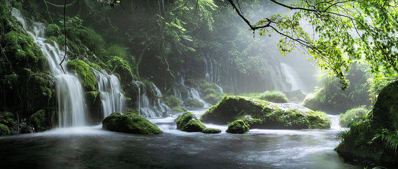Waterfall, River, Stream, Cascades, Water, Spring, Fog