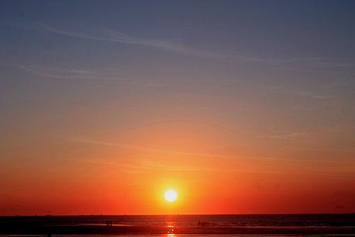 Sunset, Sun, Sea, Beach, Water, Horizon, Ocean