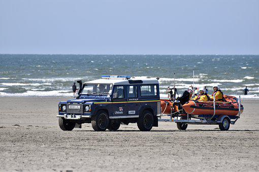 Beach, Rescue, Sea, Sand, Lifeboat, Boat, Waves