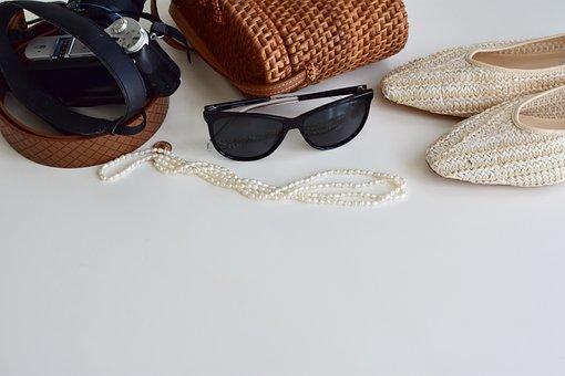 Accessories, Eyeglasses, Camera, Pearl Necklace