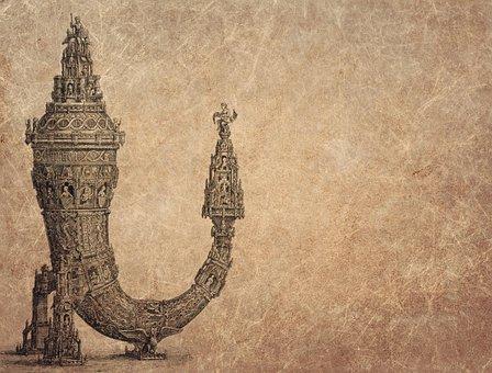Drinking Horn, Antique, Oldenburger, Wunderhorn